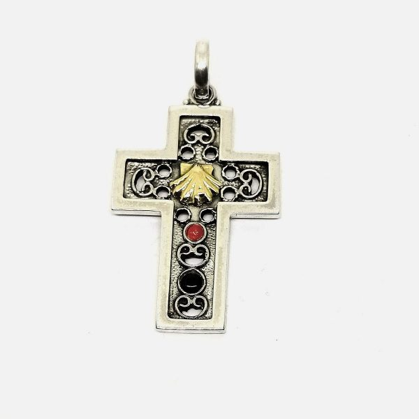 Sterling Silver Cross with 18 kt gold shell