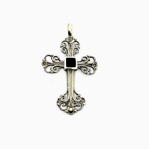 Sterling Silver & Jet Stone cross